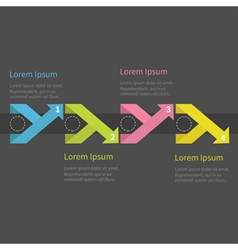 Infographic five step with ribbon up down arrow vector