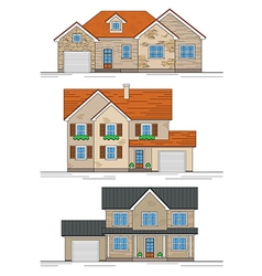 three suburban houses vector image