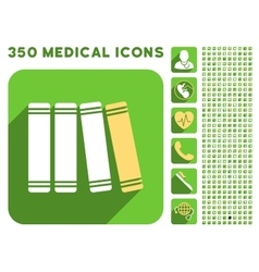 Library books icon and medical longshadow icon set vector