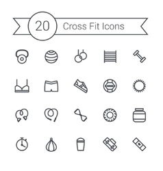 Set of crossfit gym equipment line icons of vector