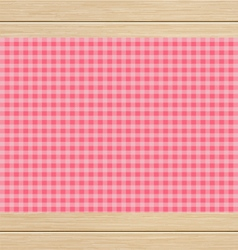 Pink Checkered Tablecloth on White Oak Wooden vector image