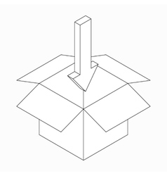 Box and pointing in arrow icon isometric 3d style vector