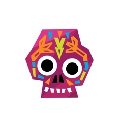 Bright color traditional mexican painted scull vector