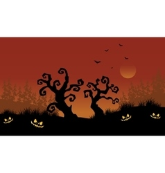 Scary halloween dry tree silhouette vector