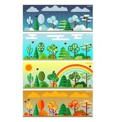 4 seasons park flat style set vector