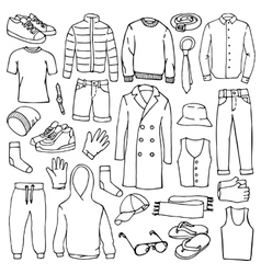 Doodle set with man clothes vector