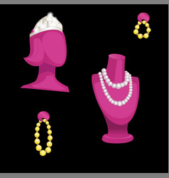 Busts and jewelry isolated on a black background vector