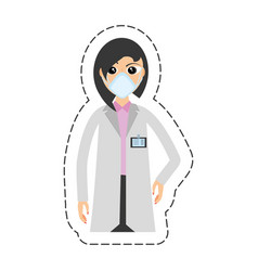 cartoon woman doctor medical mask vector image