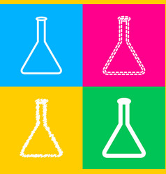 Conical flask sign four styles of icon on four vector