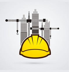 construction building helmetruction with city vector image