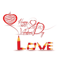 Drawing heart love you for valentines day vector image