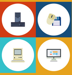 Flat icon laptop set of computing computer mouse vector