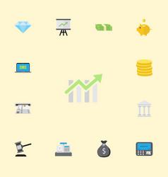 Flat icons verdict bar diagram cash stack and vector