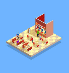 food court counter area isometric composition vector image vector image