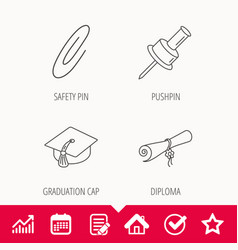 Graduation cap pushpin and diploma icons vector