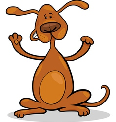 happy playful standing dog cartoon vector image vector image