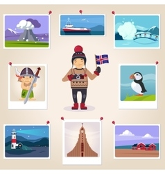 Iceland photographer surrounded with photos vector