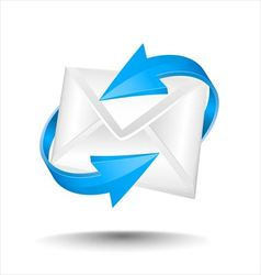 Mail with blue circular arrows vector