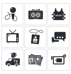 Media icon collection vector image vector image