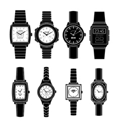 Popular watches styles black icons set vector