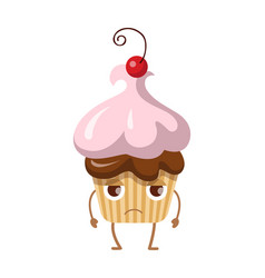 Round fruit cupcake with cherry disappointed sweet vector