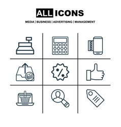 Set of 9 ecommerce icons includes mobile service vector