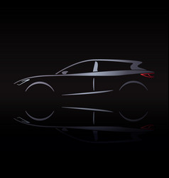silvery silhouette of car on black background vector image vector image