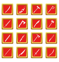 Steel arms symbols icons set red vector