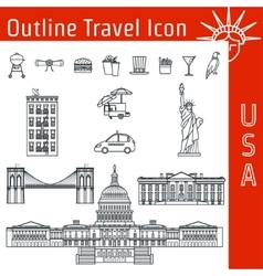 Usa icon outline 1 vector