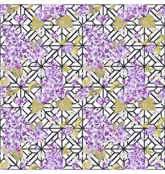 Vintage floral lilac geometry background vector