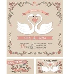 Vintage wedding invitation setSwansfloral decor vector image
