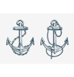 hand drawn nautical anchor Vintage sketch vector image