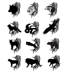 Animals tattoo vector