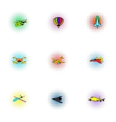 Aircraft icons set pop-art style vector