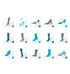 Stylized shoe and boot icons vector