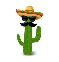 mexican cactus sunglasses vector image