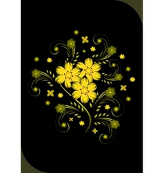 Abstract golden flowers on black background vector