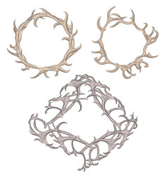 Set of different frame of deer antlers vector