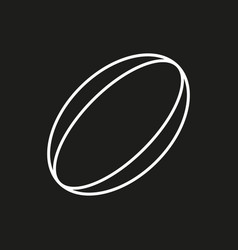 Rugby ball icon on black background vector