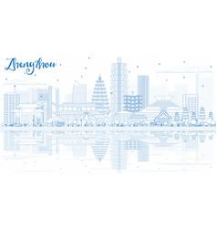 Outline zhengzhou china skyline with blue vector