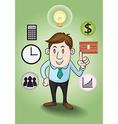 Business man and concepts to financial success vector