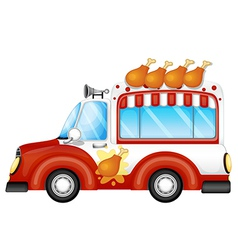 A vehicle selling fried chicken legs vector