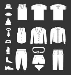 Set icons of men clothes and accessories vector