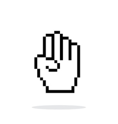 Four fingers pixel hand cursor icon on white vector