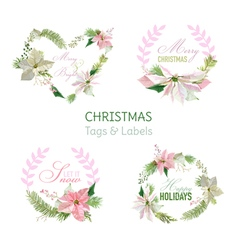 Flower banners and tags for christmas vector