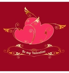 Gold hearts valentines day love message vector
