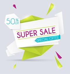Sale paper banner sale and discounts super sale vector