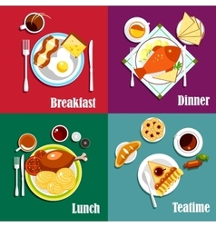 Continental breakfast lunch and dinner vector