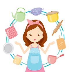 Girl With Kitchen Equipments vector image
