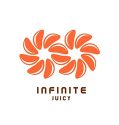 Infinity symbol logo from juicy orange tangerine vector